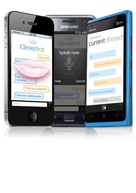 cleverbot app on three devices