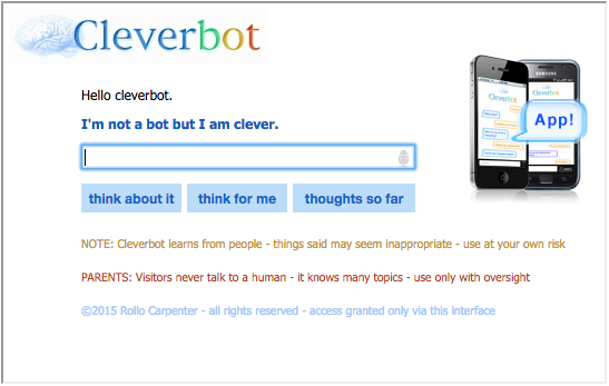 Screenshot of the Cleverbot iframe